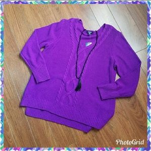 Plus size - Chaps purple v-neck sweater size 2X